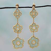 Gold plated beaded flower earrings, 'Don't Forget About Me in Green' (Mexico)