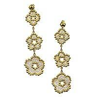 Gold plated beaded flower earrings, 'Don't Forget About Me in Pink' (Mexico)