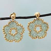 Gold plated beaded flower drop earrings, 'Don't Forget Me in Green' (Mexico)