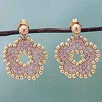 Gold plated beaded flower drop earrings Dont Forget Me in Rose (Mexico)