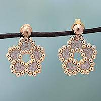 Gold plated beaded flower drop earrings, 'Don't Forget About Me in Rose' (Me..