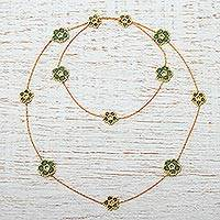 Gold plated beaded flower station necklace, 'Don't Forget About Me in Green' - Beaded Glass Flowers on Gold Plated Station Necklace