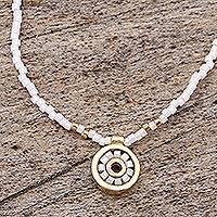 Gold plated beaded pendant necklace, 'Pearly White Iris' - Gold Plated White Beaded Necklace Crafted by Hand in Mexico
