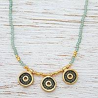 Gold plated long beaded necklace, 'Green Iris' (Mexico)