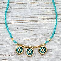 Gold plated long beaded necklace, 'Turquoise Iris' - Turquoise Long Beaded Necklace Handmade with Three Pendants