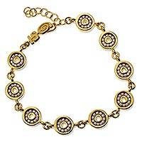 Gold plated beaded link bracelet, 'Pearly White Iris' - White Glass Work on Gold Plated Link Bracelet from Mexico