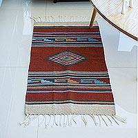 Zapotec wool rug, 'Eye of God' (2x3) - Hand Crafted Mexican Geometric Wool Area Rug (2x3)