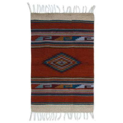 Hand Crafted Mexican Geometric Wool Area Rug (2x3)