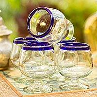 Hand blown tequila glasses, 'Cobalt Kiss' (set of 6) - Cobalt Blue Rim Hand Blown 6 oz Tequila Glasses (Set of 6)