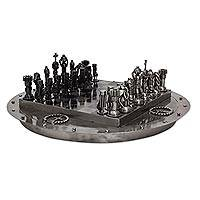 Upcycled auto part chess set, 'Medieval Challenge'