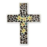 Glass mosaic cross, 'Easter Lilies' - Artisan Crafted Upcycled Glass Mosaic Wall Cross