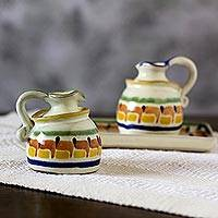 Majolica ceramic oil and vinegar set, 'Puerto Vallarta' (3 pieces) - Handcrafted Mexican Majolica Ceramic Oil and Vinegar Set