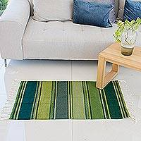 Zapotec wool rug, 'Zapotec Hillsides' (2x3.5) - Green and Teal Handwoven Zapotec Wool Rug (2x3)