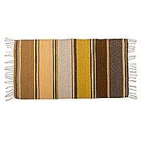 Zapotec wool rug, 'Zapotec Desert' (2x3.5) - Brown and Gold Handwoven Zapotec Wool Rug (2x3)