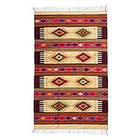 Zapotec wool rug, 'Teotitlan Roses' (4.5x7) - Red Geometric Motif Handwoven Zapotec Wool Rug 4.5 x 7