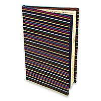 Cotton journal, 'Parallel Rainbows' - Artisan Crafted Cotton Covered Journal with 100 Blank Pages