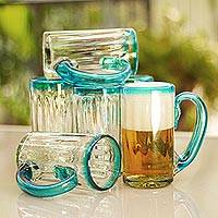 Blown glass beer mugs, 'Aquamarine Kiss' (set of 6) - Aqua Rim and Handle Hand Blown Glass Beer Mugs (Set of 6)
