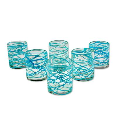 Blown glass juice glasses, 'Aquamarine Swirl' (set of 6) - Set of 6 Mexican Hand Blown 8 oz Juice Glasses