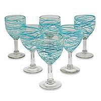 Blown glass wine glasses, 'Aquamarine Swirl' (set of 6) - Aqua Swirl Set of 6 Hand Blown Glass Wine Glasses