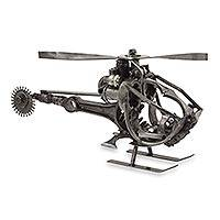 Upcycled auto part sculpture, 'Helicopter' - Handcrafted Helicopter Sculpture of Recycled Auto Parts