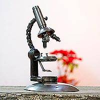Upcycled auto part sculpture, 'Rustic Microscope' - Metal Microscope Sculpture Crafted from Recycled Auto Parts