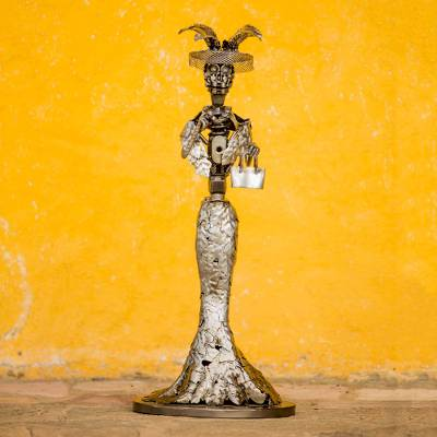 Upcycled metal sculpture, 'Elegant Catrina' - Day of the Dead Catrina Skeleton Recycled Metal Sculpture