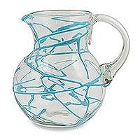 Blown glass pitcher, 'Aquamarine Swirl' - Artisan Crafted Turquoise Swirl Hand Blown Glass Pitcher