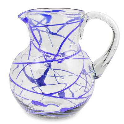 Blown Glass Blue Pitcher 84 oz Hand Blown in Mexico