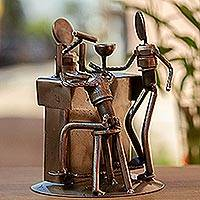 Upcycled auto parts sculpture, 'Rustic Cantina' - Upcycled Metal and Car Parts Bar Scene Sculpture from Mexico