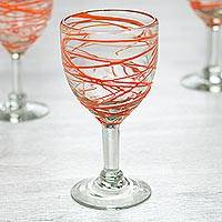Blown glass wine glasses, 'Tangerine Swirl' (set of 6) - Set of 6 Orange Swirl Hand Blown Wine Glasses