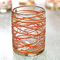 Blown glass rock glasses, Tangerine Swirl (set of 6) - Six Orange Swirl Hand Blown Glass 10 oz Rock Glasses Set