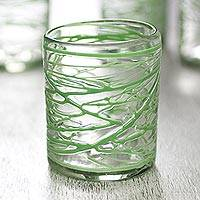 Blown glass rock glasses, 'Emerald Swirl' (set of 6) - Six Green Swirl Blown Glass 10 oz Rock Glasses Set