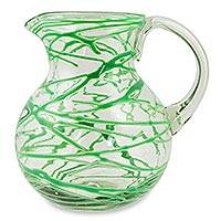 Blown glass pitcher, 'Emerald Swirl' - Blown Glass Green Pitcher 84 oz Hand Blown in Mexico