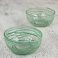 Blown glass bowls, 'Emerald Swirl' (pair) - 2 Artisan Crafted 5 Inch Blown Glass Green Swirl Bowls