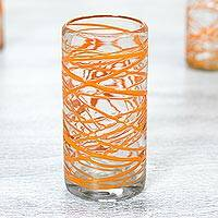 Blown glass highball glasses, 'Tangerine Swirl' (set of 6) - Set of 6 11 oz Orange Swirl Hand Blown High Ball Glasses