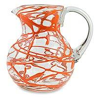 Blown glass pitcher, 'Tangerine Swirl' - Blown Glass Orange Swirl Pitcher 84 oz Hand Blown in Mexico