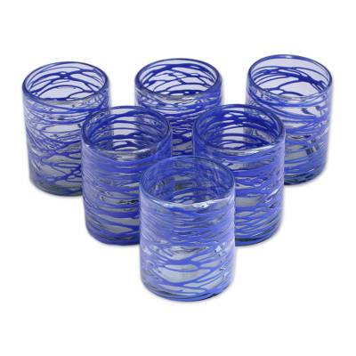 Blown glass rock glasses, 'Sapphire Swirl' (set of 6) - Six Sapphire Blue Swirl Blown Glass 10 oz Rock Glasses Set