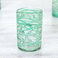 Blown glass water glasses, Emerald Swirl (set of 6)