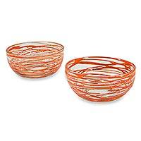 Blown glass bowls, 'Tangerine Swirl' (pair) - Mexican Hand Blown Orange Swirl 5-Inch Glass Bowls (Pair)