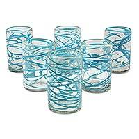 Blown glass tumblers, 'Aquamarine Swirl' (set of 6) - Set of 6 Mexican Hand Blown Aqua Swirl 13 oz Glass Tumblers
