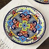 Ceramic luncheon plates, 'Blue Teziutlan' (pair) - Pair of 2 Handcrafted Ceramic 10-inch Plates