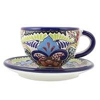 Ceramic cup and saucer, 'Blue Teziutlan' - Colorful Mexican Cup and Saucer with Blue Borders