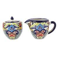 Ceramic sugar bowl and creamer, 'Blue Teziutlan' - Multicolor Mexican Floral Sugar Bowl and Creamer