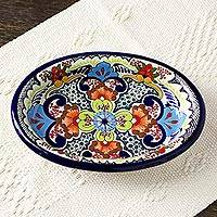 Ceramic salsa bowl, 'Blue Teziutlan' - Handcrafted Multicolor Lead Free Mexican Puebla Cobalt Blue