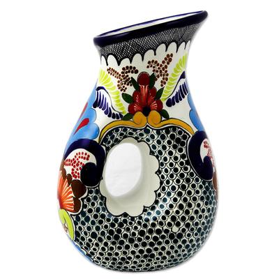 Majolica Ceramic Floral 47-oz Pitcher from Puebla