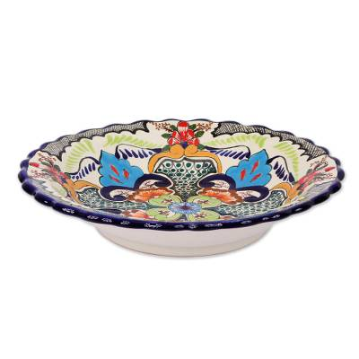 Ceramic serving bowl, 'Blue Teziutlan' - Authentic Handcrafted 13 Inch Serving Bowl
