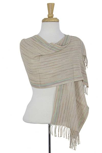 Cotton shawl, 'Hidalgo Light' - Hand Woven Cotton Mexican Shawl with Natural Dyes