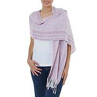 Cotton scarf, 'Trendy Lilac' - 100% Cotton Hand Crafted Scarf in Light Purple