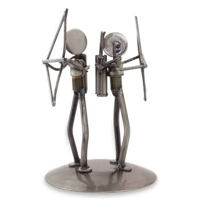Auto part sculpture, 'Eco Archers' - Upcycled Metal and Auto Part Archery Sculpture