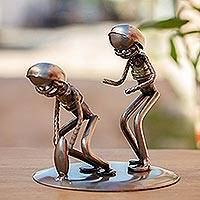 Auto part sculpture, 'Quarterback Snap' - Football Players Recycled Auto Part Metal Sculpture